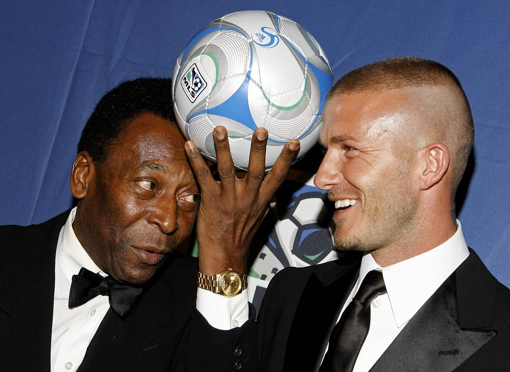 Pele and David Beckham at US Soccer Foundation fundraising gala, 2008