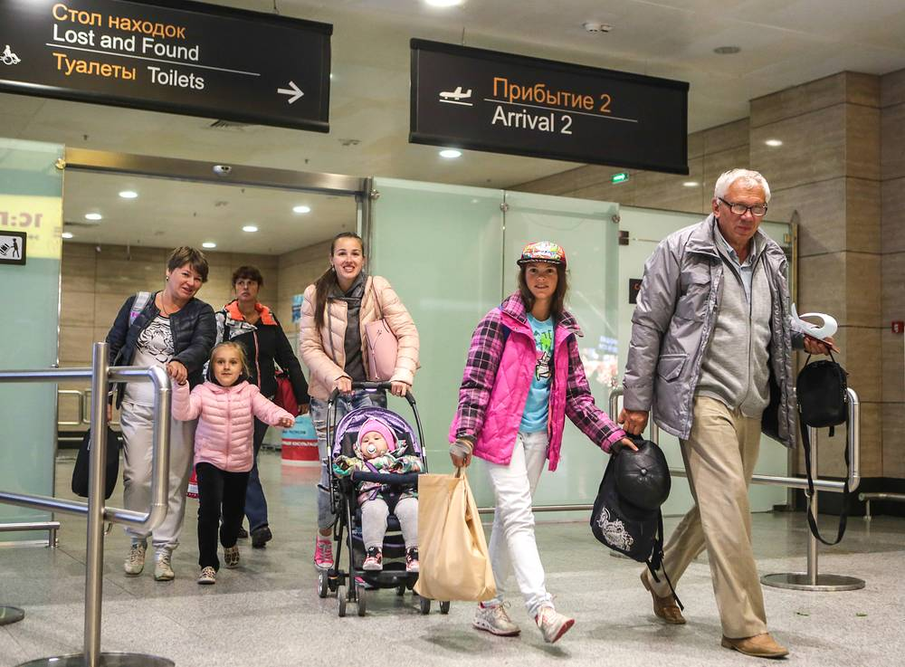 Russian tourists arrived at Pulkovo airport from Egypt