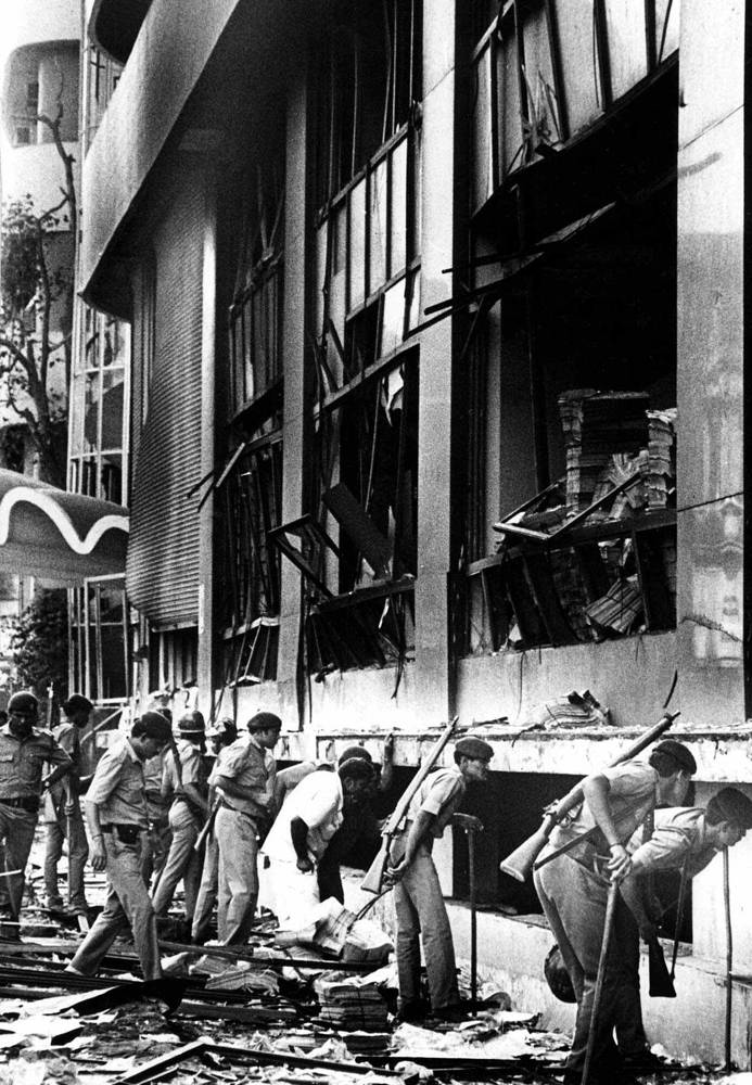 1993 Bombay bombings. Twelve bombs exploded on March 12, 1993 at various locations, killing hundreds in India's financial capital. Attacks resulted in 257 fatalities. Photo: Aftermath a massive explosion ripped through the Bombay Stock Exchange, March 12, 1993