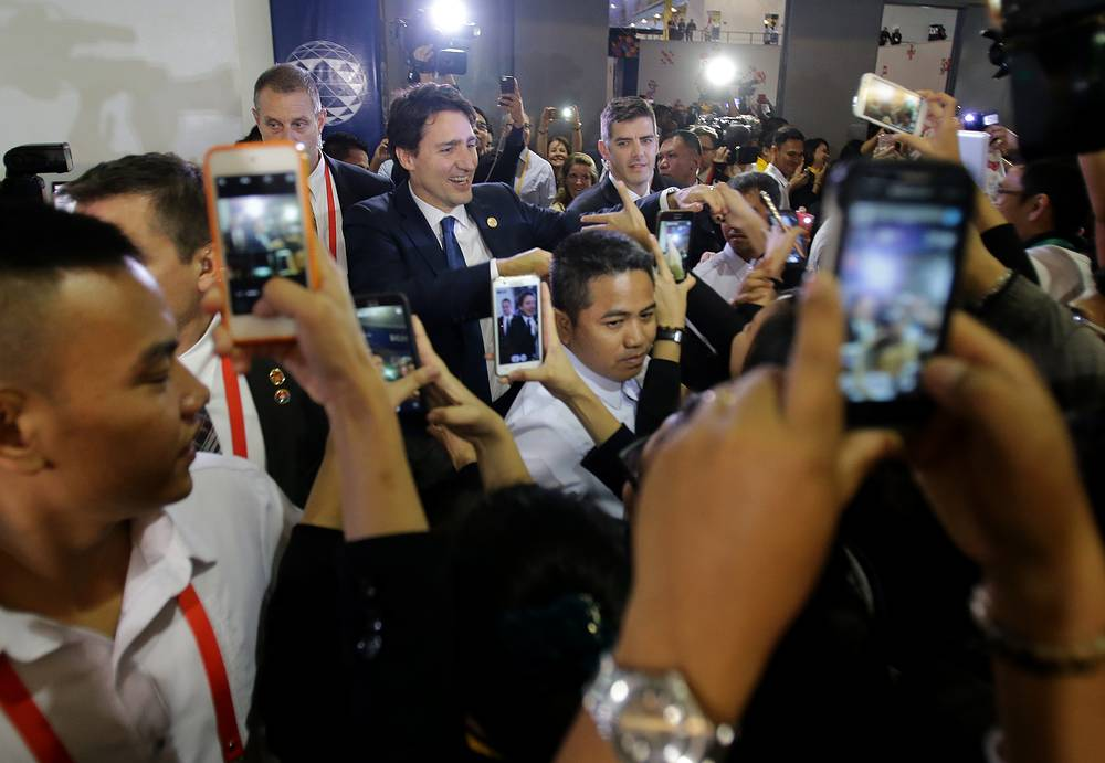 Canadian Prime Minister Justin Trudeau leaving the International Media Centre following a press conference at the close of 2015 APEC summit