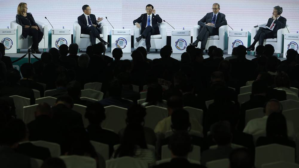 Vietnam's President Truong Tan Sang at a panel discussion at APEC CEO Summit in Manila