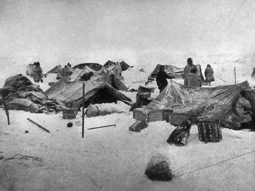 Members and crew of the Chelyuskin steamship expedition living in a camp after wreck, 1934