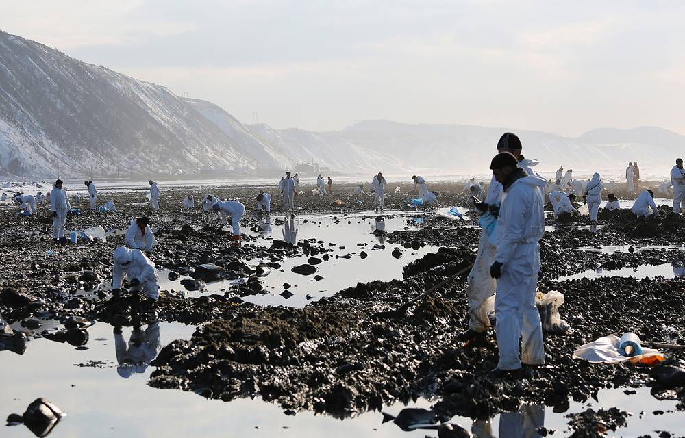 Rescuers continued pumping oil