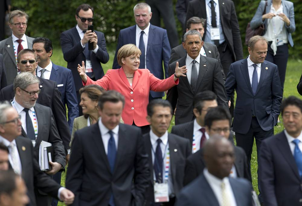 Angela Merkel posing for a group photo of G-7 leaders in Germany, June 8, 2015