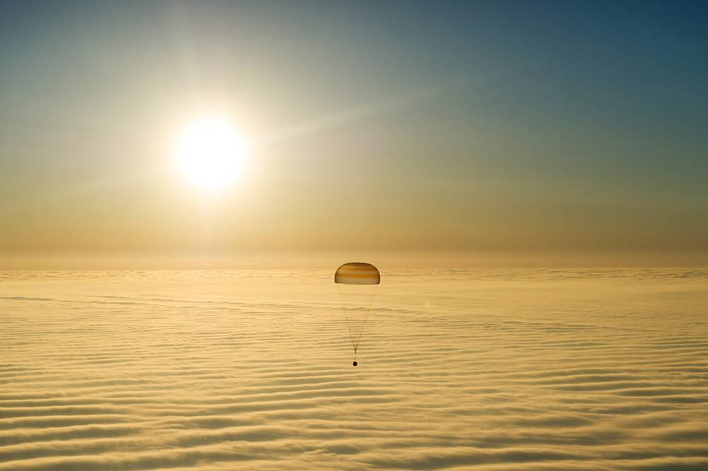 Landing of a descent capsule of Russia's Soyuz TMA-14M spacecraft carrying ISS Expedition 41/42 crew members, Russian cosmonauts Yelena Serova, Alexander Samokutyayev and NASA astronaut Barry Wilmore, March 12