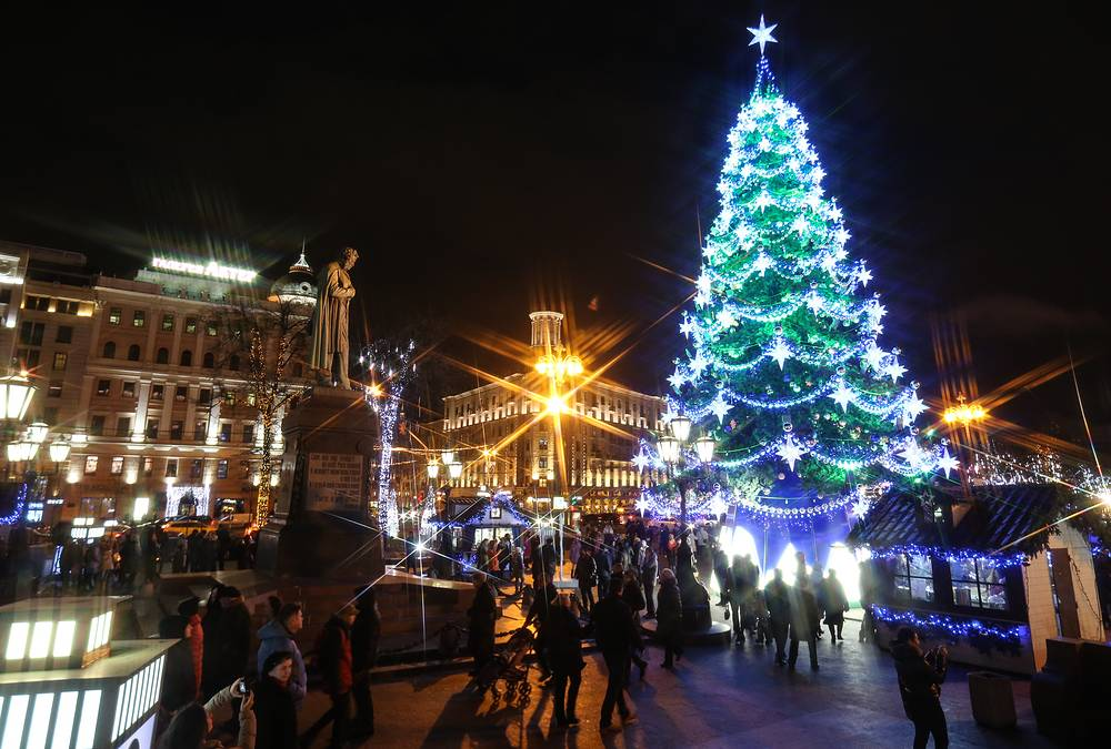 Pushkin Square in Moscow decorated for the upcoming holidays as part of the Journey to Christmas winter festival