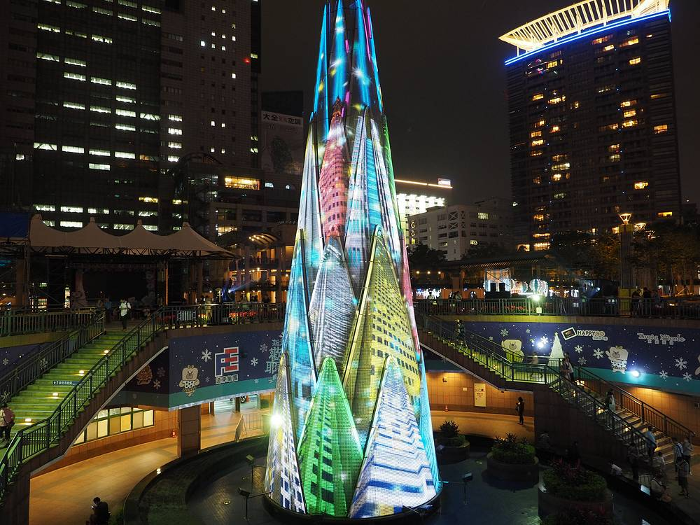 36-meter 3D Christimas tree in Banciao, New Taipei City, northern Taiwan