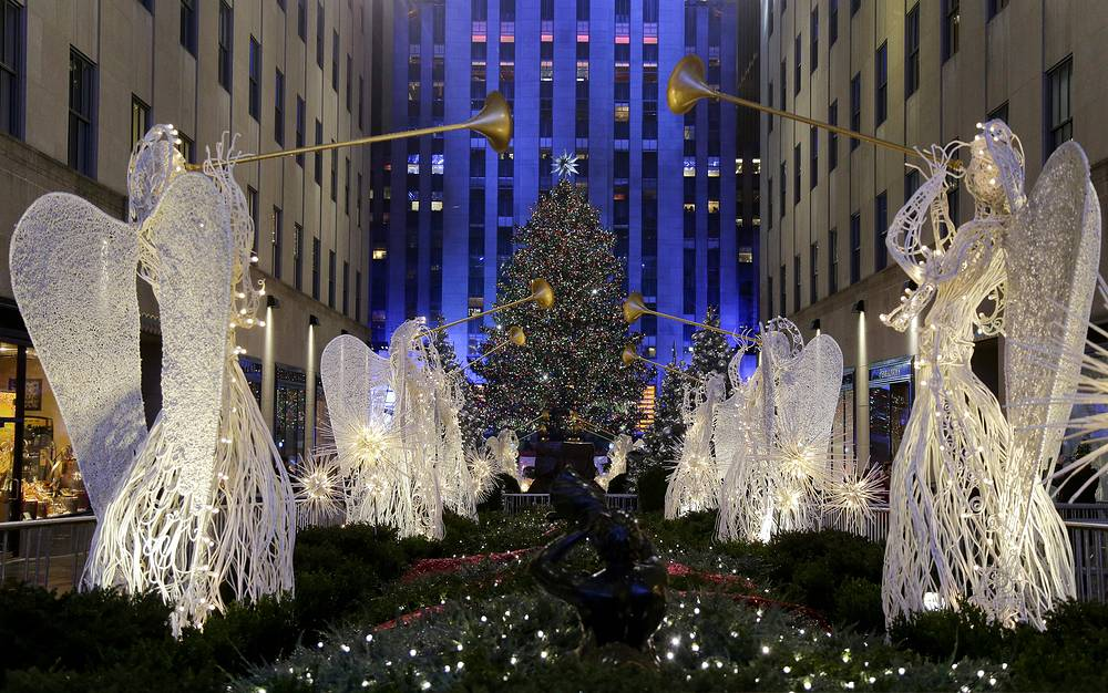 The Rockefeller Center Christmas tree in New York, USA. The Norway Spruce tree is lit with about 45,000 multi-colored LED lights