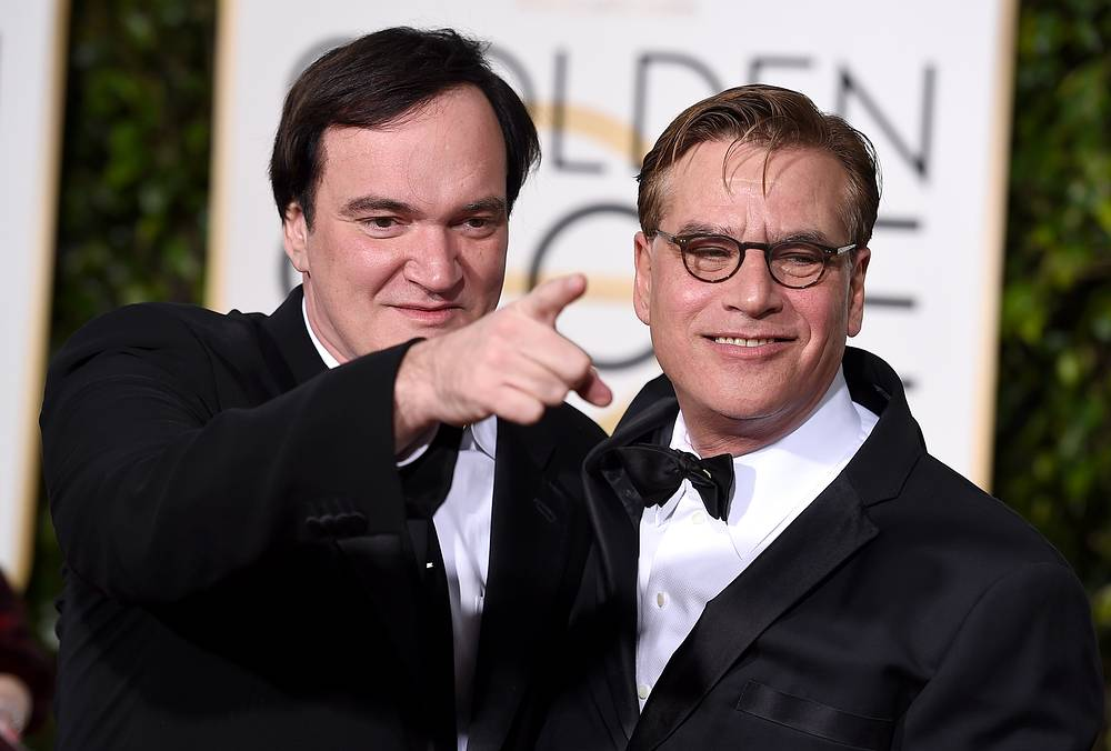 "Quentin Tarantino and Aaron Sorkin, winner of best screenplay - motion picture for ""Steve Jobs"" at the 73rd annual Golden Globe Awards"