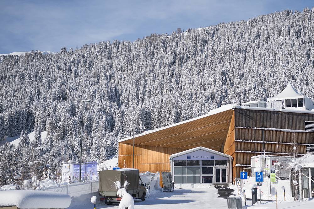 An exterior view of the conference center in Davos