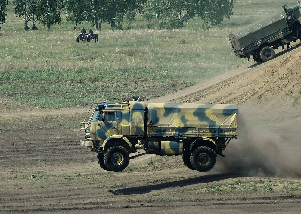 Kamaz truck seen during the performance of military equipment, technologies and weapons of land forces in Omsk
