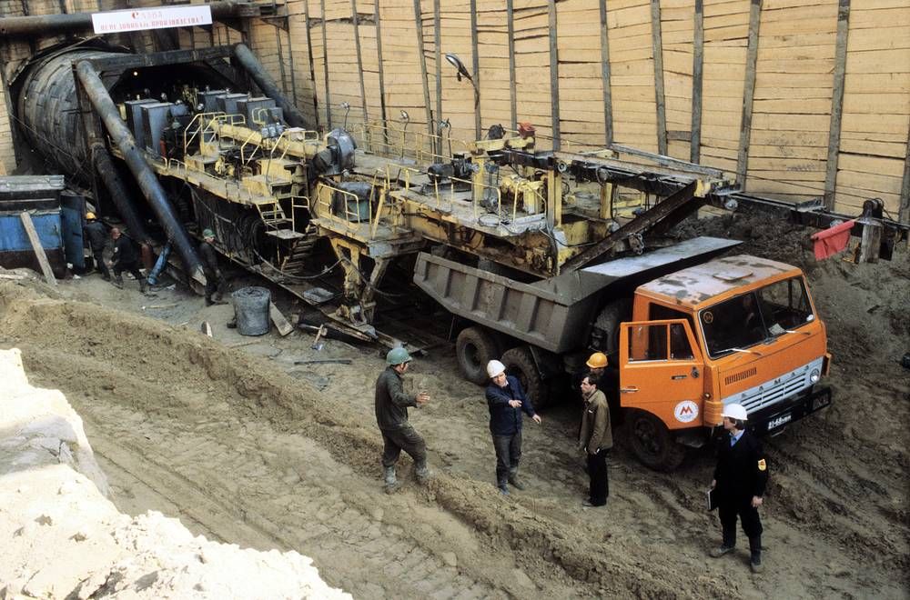 Kamaz truck on the subway construction, 1982