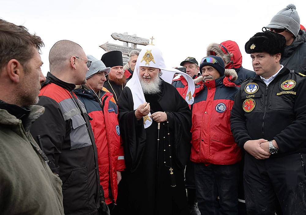 Patriarch Kirill visiting Russia's Bellingshausen Antarctic station on Waterloo Island