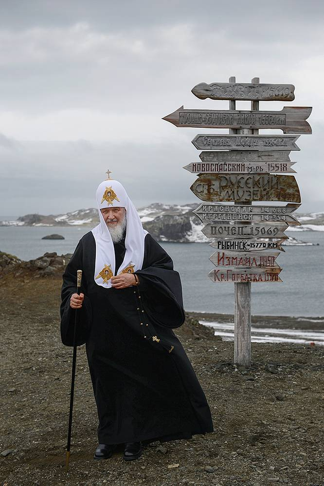 Patriarch Kirill at Russia's Bellingshausen Antarctic station on Waterloo Island