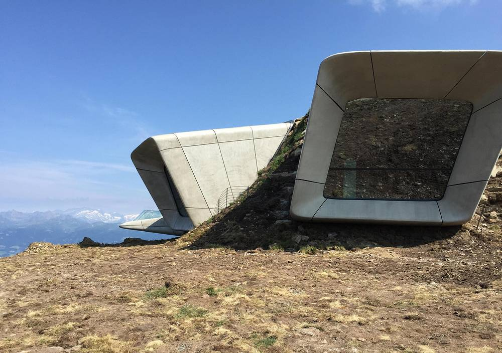 Messner Museum in Plan de Corones, Italy. The museum is dedicated to the history of alpinism and shows views of the big walls of the Dolomites and the Alps