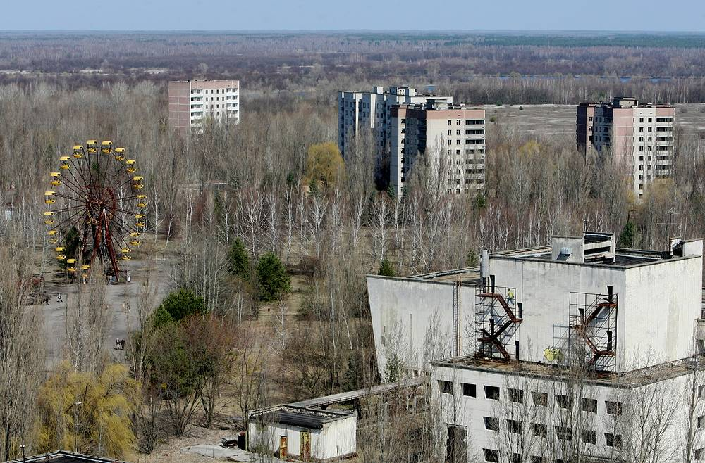 A helicopter view of the abandoned town of Pripyat