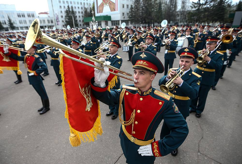 Members of the Moscow Garrison Band seen during dress rehearsal