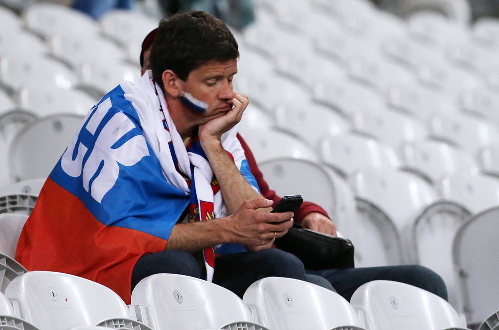 A Russian fan after the Euro 2016 football match between Russia and Slovakia, 15 June 2016