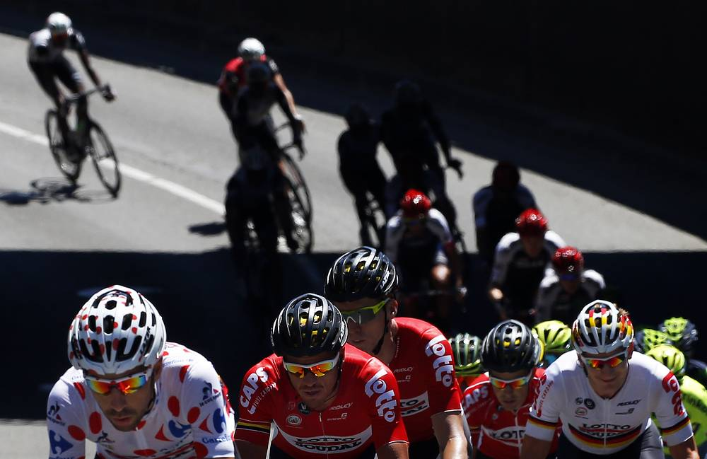 The pack riding during the fourteenth stage of the Tour de France 2016