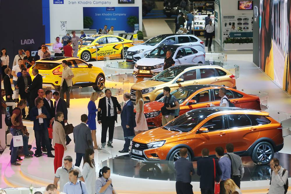 Cars on display at the 2016 Moscow International Automobile Salon
