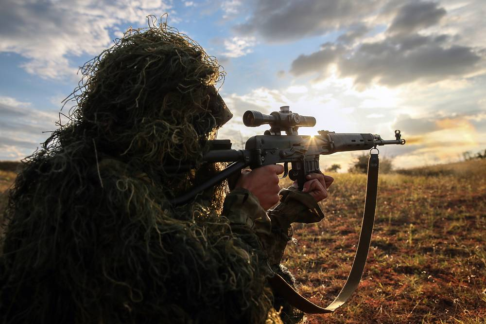 A sniper seen during tactical exercise at Sernovodsky range