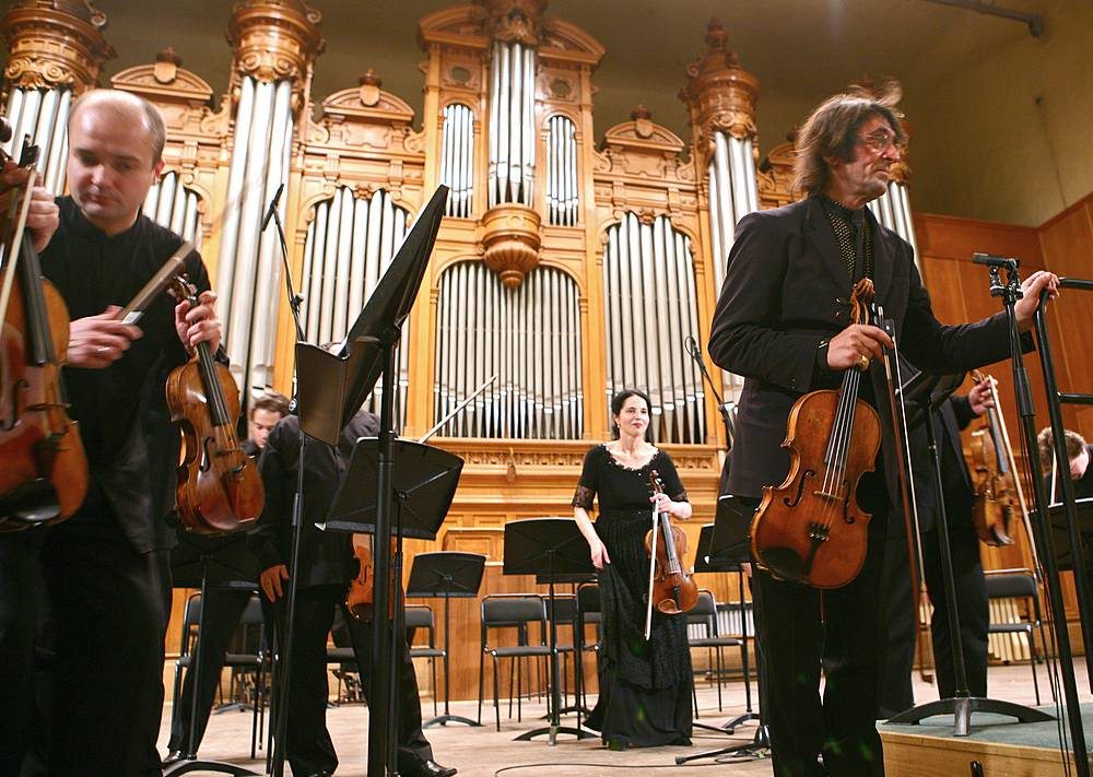 The list of distinguished Moscow Conservatory graduates includes conductor Yuri Bashmet, composer Sergei Rachmaninoff, conductor Vladimir Spivakov, pianist Sviatoslav Richter, conductor Mstislav Rostropovich and many others. Photo: Conductor Yuri Bashmet with the Moscow Soloists chamber ensemble perform at the Moscow Conservatory's Great Hall, 2008