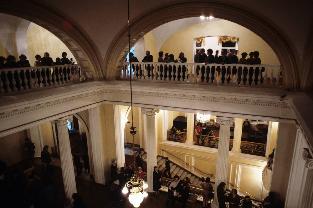 The Moscow Conservatory is the second oldest conservatory in Russia. Photo: Lobby of the Moscow Conservatory Grand Hall, 1985