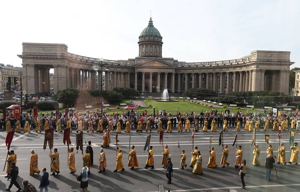 Religious procession marking the 292nd anniversary of the transferral of the relics of St Alexander Nevsky in St Petersburg, September 12
