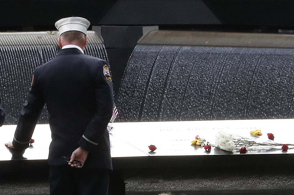 A firefighter at 15th anniversary ceremony of the attacks on the World Trade Center at the 9/11 memorial in New York, September 11