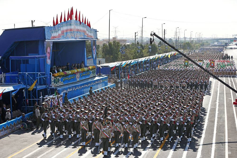 Iranian armed forces marching at a military parade marking the 36th anniversary of Iraq's 1980 invasion of Iran