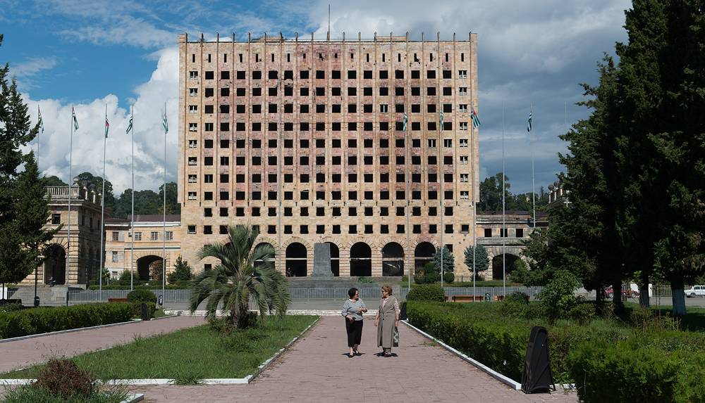 The government building in Sukhumi, damaged in 1993