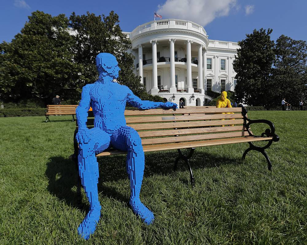 Sculptures made of Lego bricks, created by Nathan Sawaya, in front the White House in Washington, USA, October 3