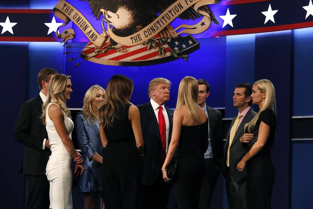 US Republican candidate Donald Trump and his family at the end of the final Presidential Debate in Las Vegas, USA, 19 October