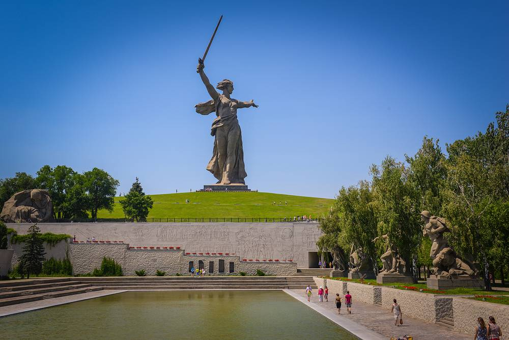 The Motherland Calls statue in Mamayev Kurgan in Volgograd, commemorating the Battle of Stalingrad.  It is the tallest statue in Russia, measuring 85 metres from the tip of its sword to the top of the plinth