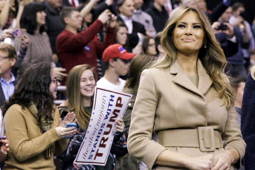 Melania Trump is introduced during a campaign rally in Manchester, Feb. 8, 2016