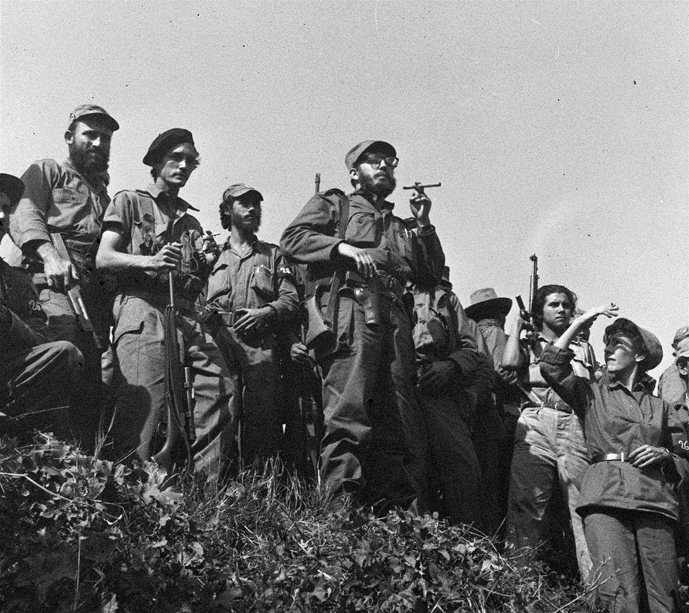 Fidel Castro and his soldiers in Matanzas, 90 kilometres east of Havana, January 1959