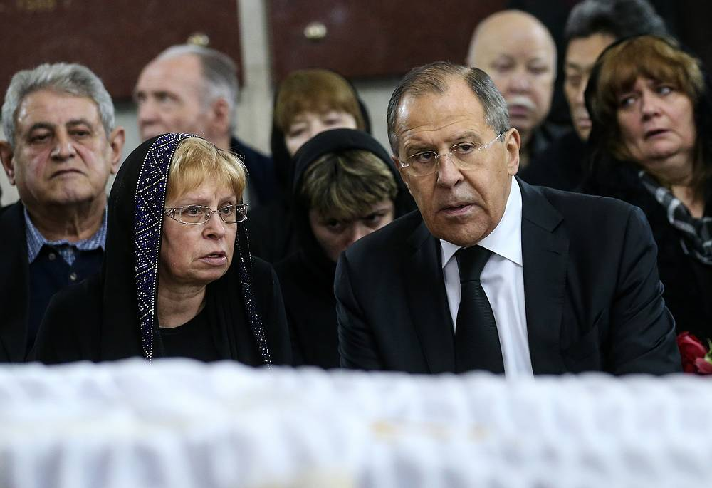 Andrei Karlov's widow Marina and Russia's Foreign Minister Sergei Lavrov
