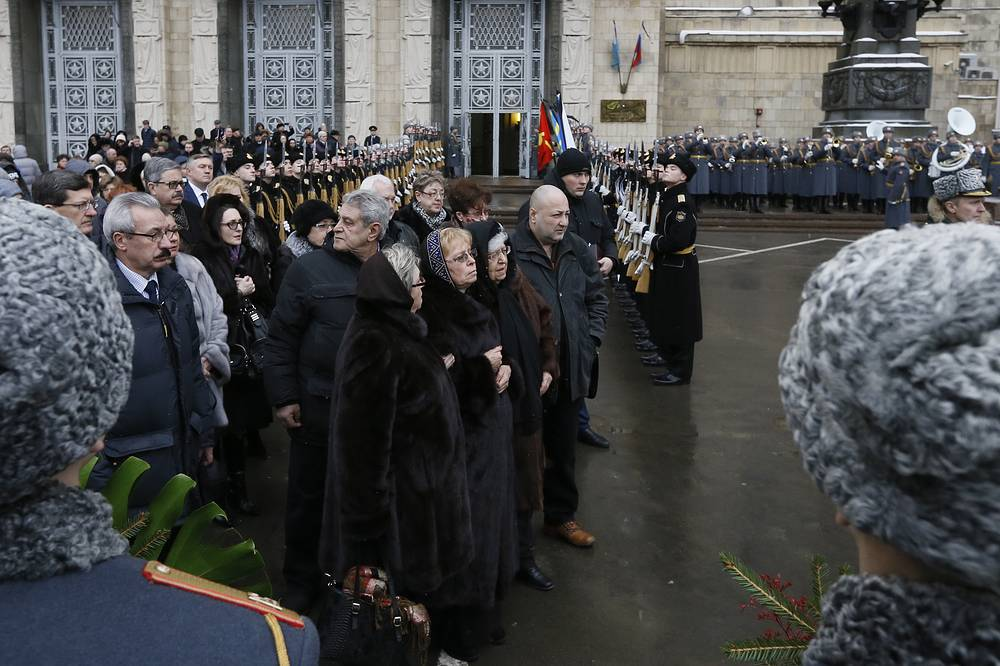 Andrei Karlov's mother Maria and widow Marina seen after a funeral ceremony for Russian Ambassador to Turkey Andrei Karlov at the offices of the Russian Foreign Ministry