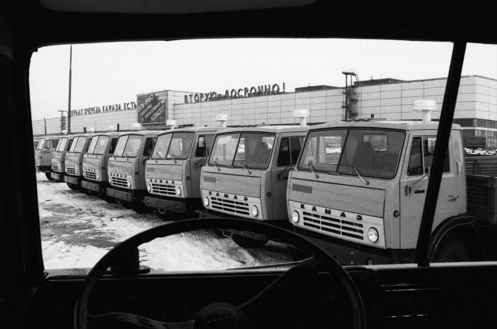 KAMAZ trucks at the Kama automobile plant, 1978
