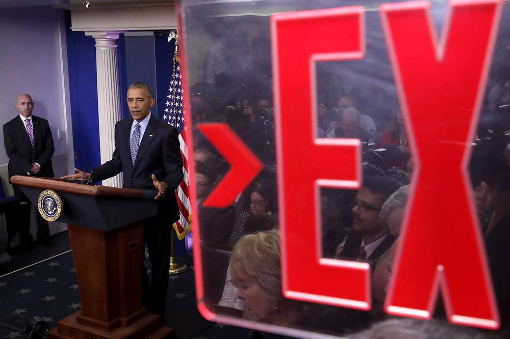 US President Barack Obama holds the last news conference of his presidency in the Brady Press Briefing Room at the White House January 18
