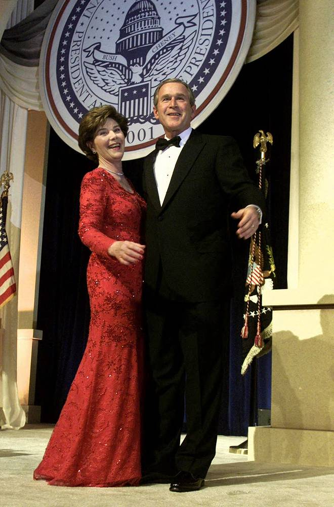 41st President of the United States George W. Bush and first lady Laura Bush at the presidential inaugural ball, 2001