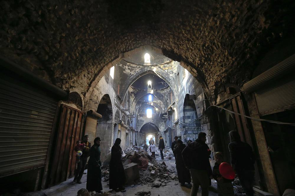 Al-Madina Souq, the covered market located at the heart of the Syrian city of Aleppo within the walled ancient part of the city was badly damaged during the war