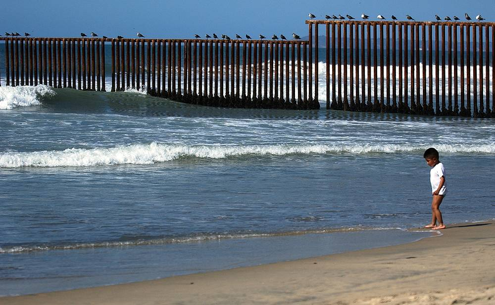 Fence separating Mexico and the US in the border city of Tijuana, Mexico