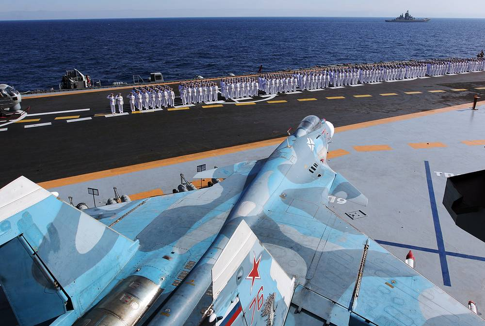 Su-33 aircraft on Russia's Admiral Kuznetsov aircraft carrier
