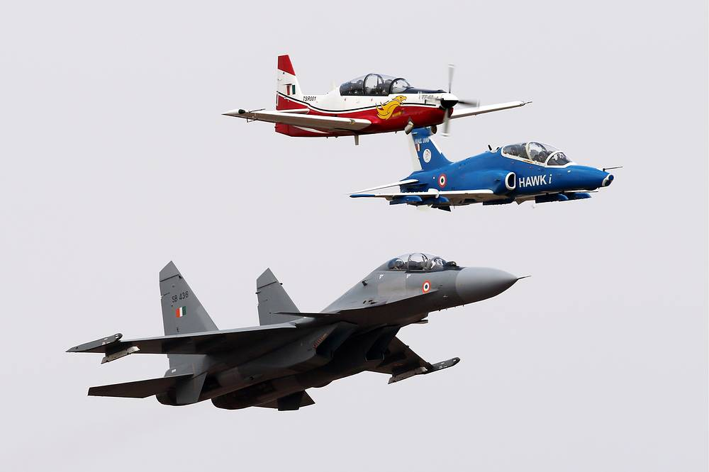 Russia's Sukhoi Su-30MKI twinjet multirole air superiority fighter, Britain's BAE Systems Hawk British single-engine, jet-powered advanced trainer aircraft (Hawker Siddeley Hawk), and India's HAL HTT-40 trainer aircraft