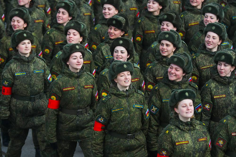Russian female soldiers march at Alabino Range as they prepare for the upcoming 9 May military parade marking the 72nd anniversary of the USSR's victory over Nazi Germany in World War II