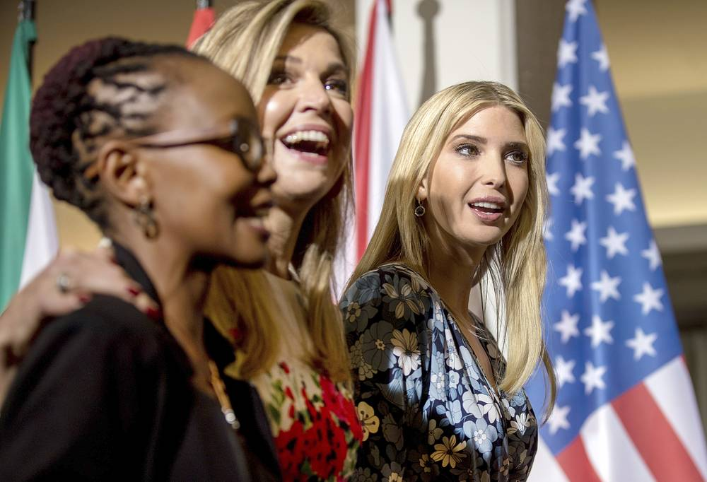 Ivanka Trump, Queen Maxima of the Netherlands and Juliana Rotich, founder of BRCK, a hardware and technology service company from Nairobi