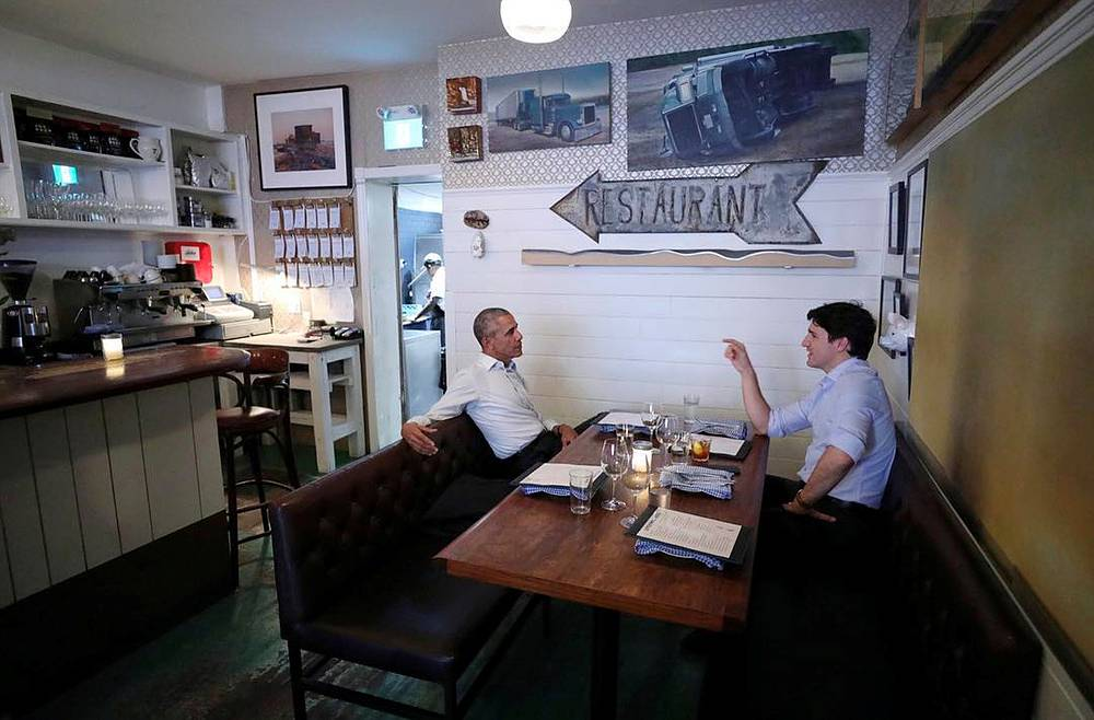 Former US president Barack Obama and Canadian prime minister Justin Trudeau having dinner and drinks at Liverpool House restaurant, Montreal, Canada, June 6