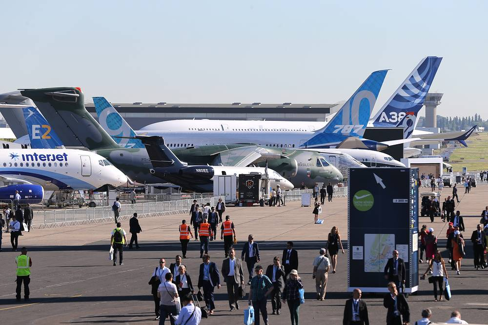 Aircraft on display at the 2017 Paris Air Show at Le Bourget Airport