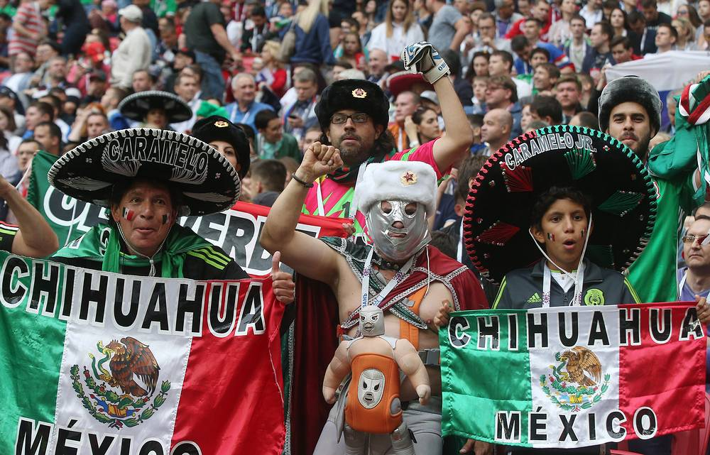 Supporters of Mexico during the 2017 FIFA Confederations Cup First Stage Group A football match between Mexico and Russia at Kazan Arena Stadium